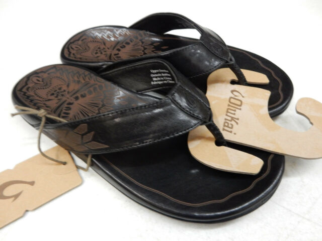 732682140 OluKai Mens Sandals Kulia Black Size 11 for sale online
