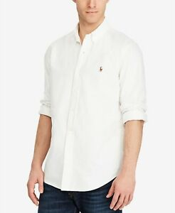 Polo-Ralph-Lauren-Classic-Fit-Long-Sleeve-Solid-Oxford-Shirt-Small-White