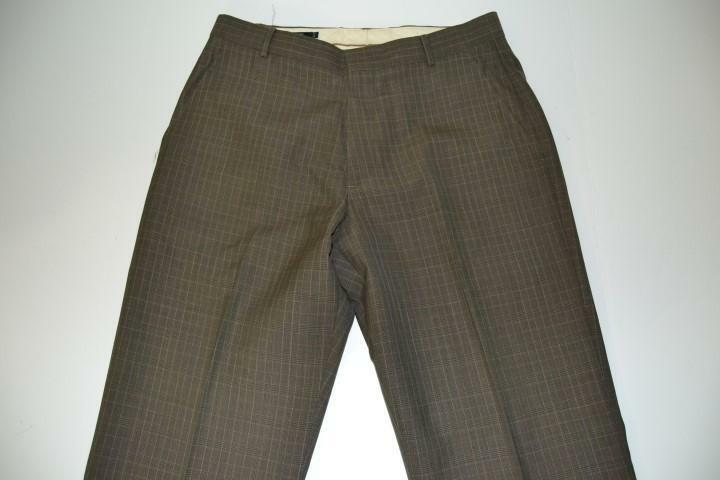 J CREW OLIVE GREEN PLAID DRESS PANTS MENS SIZE 32 X 26