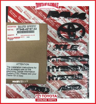 Genuine Toyota Rav4 XLE AWD 2019 Blackout Emblem Overlay Kit PT948-42193-02