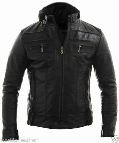 Racing Jacket Motorbike Leather Biker Jacket Detach Hood - ALL SIZES