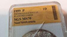ERROR 1999 SILVER DOLLAR AMERICAN EAGLE 1 TROY OZ. VERY RARE POP 1 OF 7,480,000