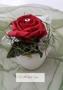 Details Zu 5 Tischgestecke Hochzeit Taufe Alle Anlasse Tischdekoration Topf Deko Rose Rot