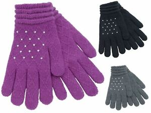 Ladies-Foxbury-Soft-Jacquard-Gloves-amp-Diamantes-GL536-Black-Grey-Navy-Grape