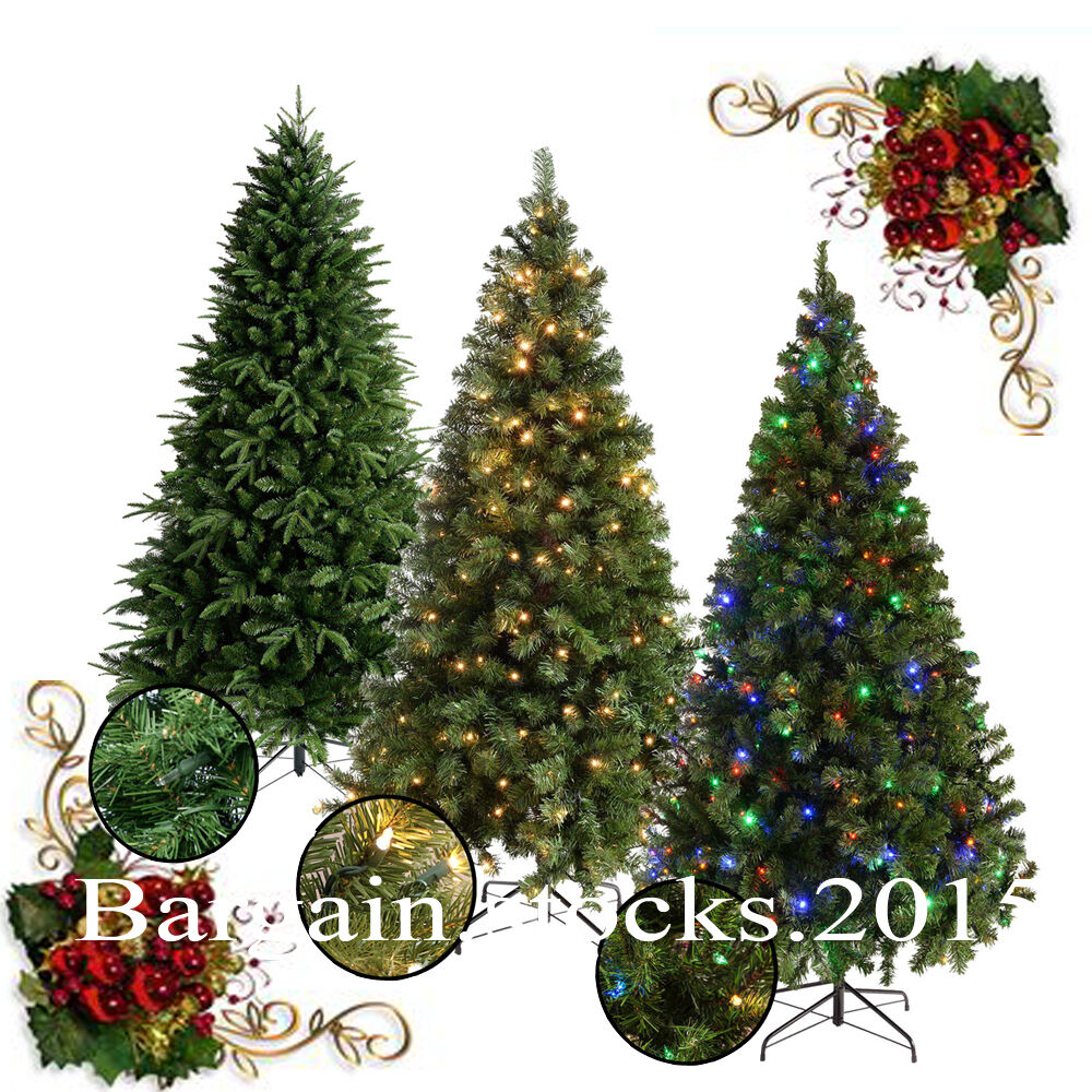 Details About 6ft 7ft Christmas Tree Green Frosted Pre Lit W Warm White Leds 8 Function Large