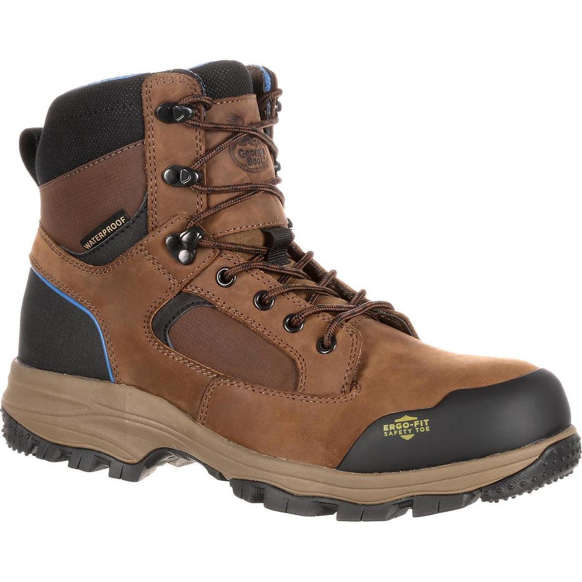 Georgia Boots GB00107 bluee Collar Waterproof Work Hiker Dark Brown Boots