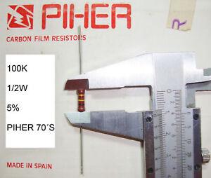 VINTAGE-PIHER-RESISTOR-1-2W-100K-5-1-PC-NEW-ORIGINAL-1970-S