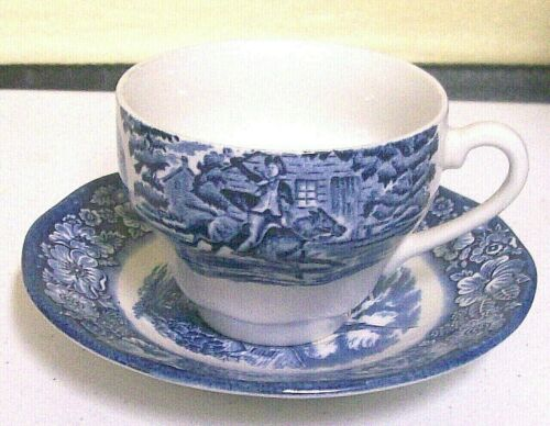 Liberty Blue Staffordshire CUP AND SAUCER MINT