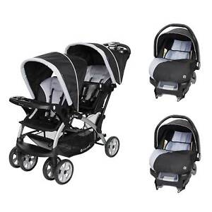 Baby Trend Sit N Stand Baby Double Stroller and 2 Infant Car Seat Combo, Stormy