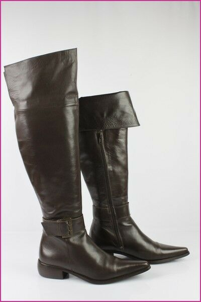 Boots High Knees Baxxo Brown Leather T 38 Very Good Condition
