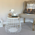 DISCOUNTED White Metal Side Table with Wood Top/Bedside Table/Modern Industrial