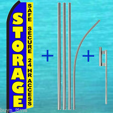 STORAGE Safe Secure 24 Hr FLUTTER FEATHER FLAG + POLE KIT Swooper Banner Sign