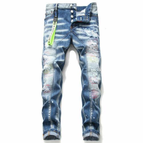 Big-name jeans light color patch patch DSQUARED2 destruction jeans men