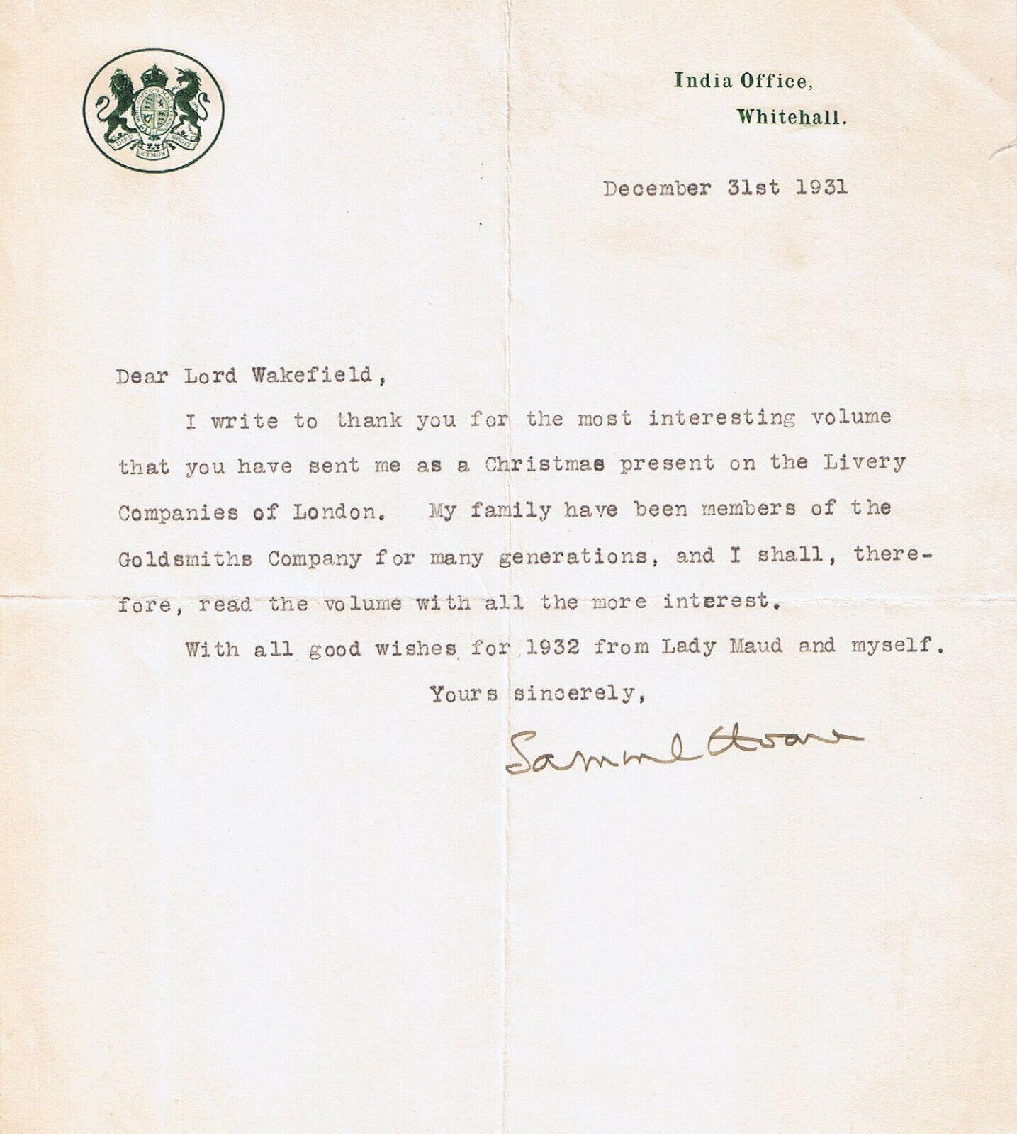 Mit Bonus. Samuel Hoare, 20. Viscount Templewood, Brief ...