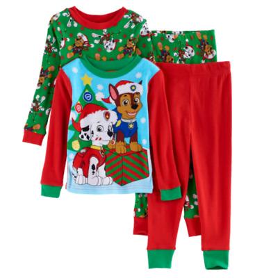PAW PATROL 3T 4T Toddler Boys CHRISTMAS PAJAMAS Chase Marshall Cotton Pjs