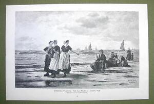 HOLLAND-Beach-Life-Girls-Strolling-Knitting-Flirting-VICTORIAN-Era-Print