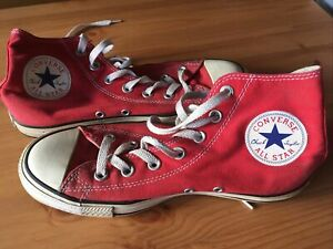 Converse Size 6 Red High Tops   eBay