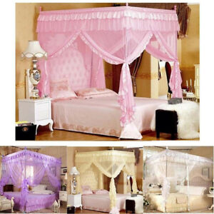 Princess-4-Corner-Post-Bed-Canopy-Mosquito-Netting-Single-Double-King-All-Size