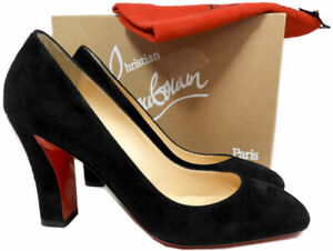 code promo bca85 292eb Détails sur Christian Louboutin Viva Daim Noir Talon Bloc 85 Chaussures  Pompes 37