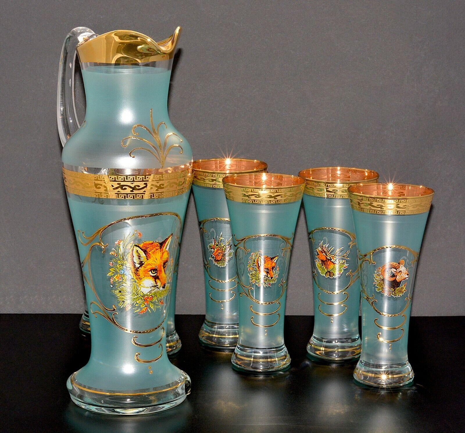 Karaffe & 6 Gläser, Bohemia, Handarbeit, Handbemalt, Farbe Grün Gold, Dekor Jagd   Elegantes Aussehen