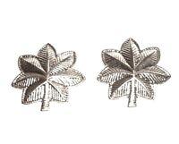 Lt Col Cdr Oak Leaf Pin Set Rank Insignia Police Military Nickel Plate 905