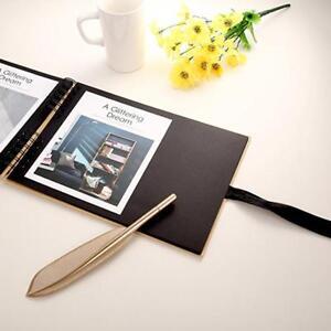 Black-Craft-Scrapbook-Photo-Album-Guest-Book-Display-Gift-Ribbon-Tie-Journal-6L