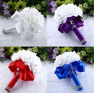 Image Is Loading US Fairy Crystal Silk Rose Flowers Wedding Bridal