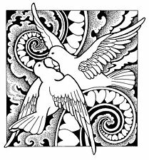 Large Unmounted Rubber Stamp - Doves - 8011  Weddings, Anniversaries, Valentines