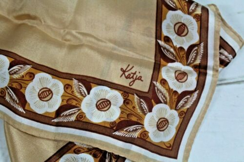 Katja Vtg. Rectangle Silky Scarf Tan Brown Floral