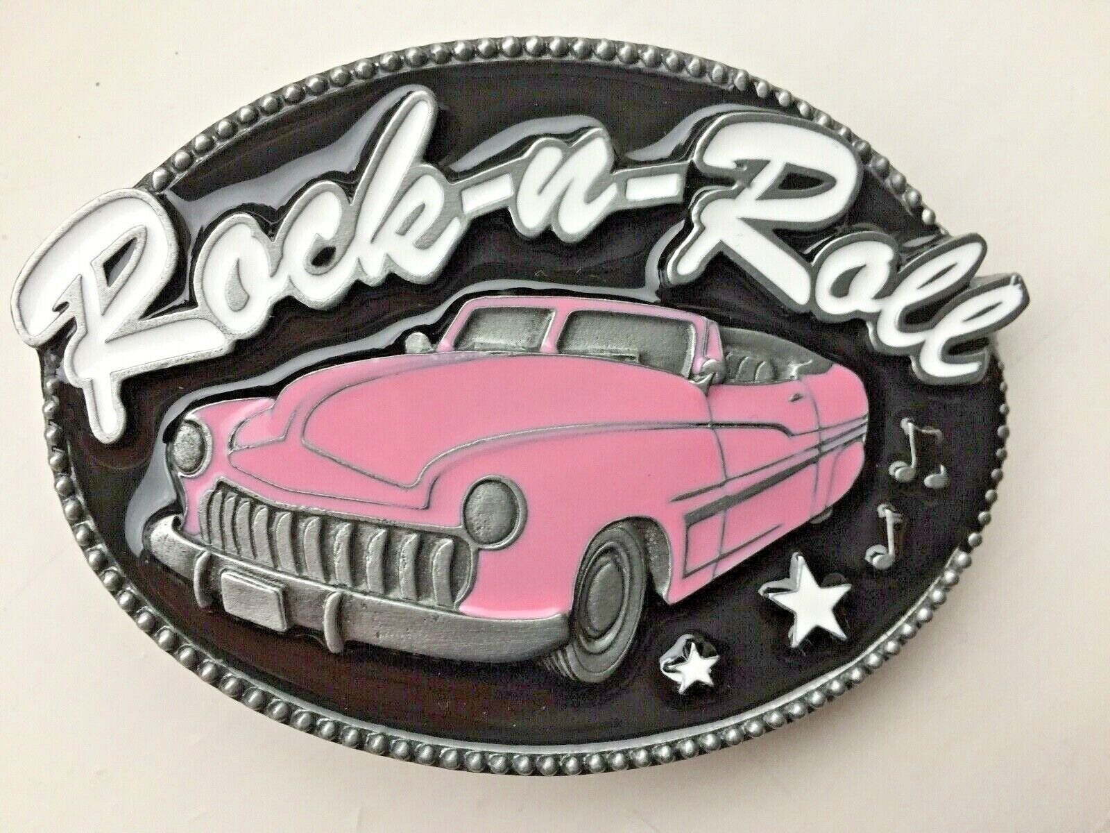 Rock and roll belt buckle.USA car