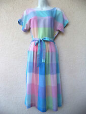 Vintage 1980s DAY DRESS Pastel Rainbow PLAID Modest Cut 1950s Style Belted M