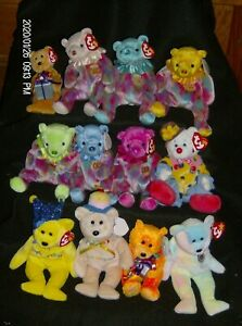 Ty Beanie Babies Happy Birthday Bears, Monthly bears and Juggles Clown New