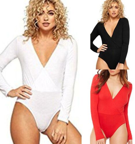 Ladies Women/'s Celebrity Wrap Over Cross Front Long Sleeve Bodysuit Top
