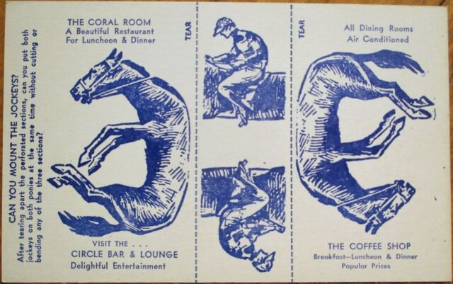 Paper Doll Horse & Jockey 1940s Restaurant Advertising Postcard - Mechanical