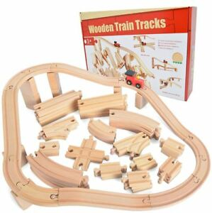 Details About 62 Pieces Wooden Train Track Expansion Kids Toy Set Perfect For Thomas Trains