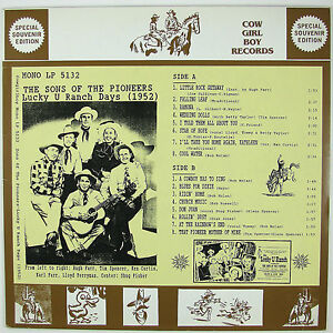 SONS-OF-THE-PIONEERS-Lucky-U-Ranch-Days-1952-LP-1992-COWBOY-COUNTRY-NM-NM
