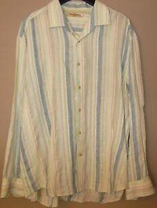 Tommy-Bahama-Linen-Shirt-XL-Blue-White-Yellow-Orange-Striped-Long-Sleeve-Button