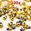 thumbnail 1 - 100 Pcs Mini Bees Self Adhesive Funny Wooden Bumble Ladybug Craft Card Toppers