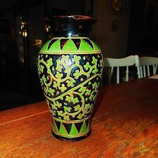 "Vintage Antique 10"" Chinese Tz'u-Chou Imperial Green on Black Vase-c. 1400-1600"