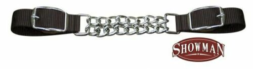 """10.5/"""" Showman Fully Adjustable End DOUBLE CHAIN Nylon CURB STRAP Adjusts 8.5/"""""""