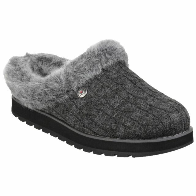 Mule Ice Charcoal Ladies Skechers Keepsakes Slippers Knit Angel vfbY76yg