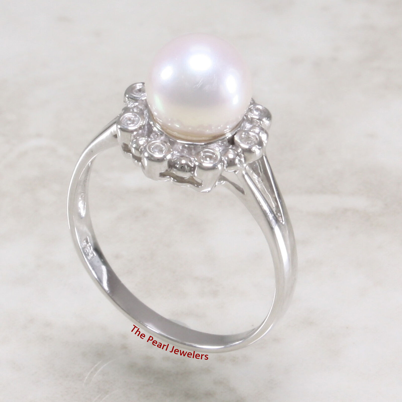 14k White gold Round White Genuine Cultured Pearl & Diamond Solitaire Ring TPJ
