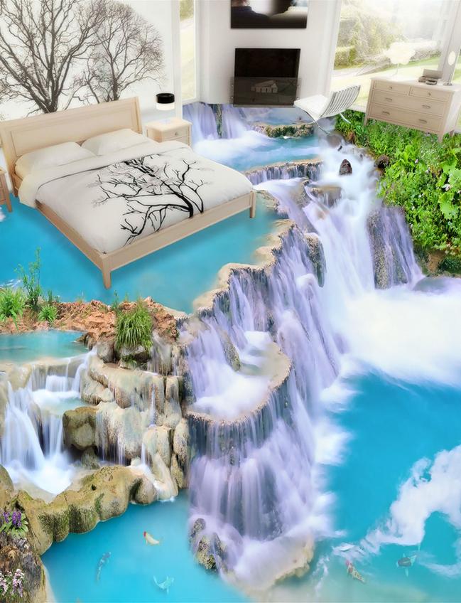 3D Great Falls 4099 Floor WallPaper Murals Wall Print 5D AJ WALLPAPER AU Lemon
