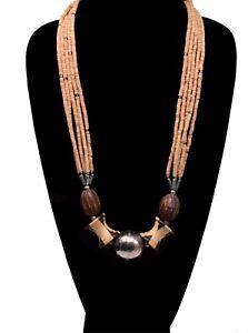Beige-Brown-BoHo-Multi-Strand-Dangle-Ethnic-Styled-Beaded-Pendant-Necklace