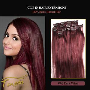 99J-Wine-Red-Clip-In-Full-Head-Hair-Extension-100-Human-hair-16-039-039-30-039-039