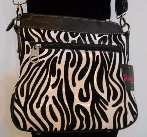 ZEBRA PRINT Cross Body Purse STUDDED CROSS Shoulder Bag in THREE Colors BLING