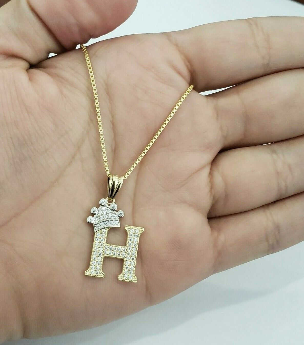 Real 14k Yellow gold Crown Initial Alphabet Letter H Pendant Charm King Chain