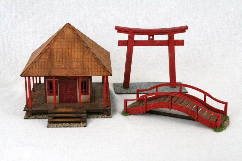 SAMURAI  JAPANESE TEMPLE SHRINE, TORII GATE & BRIDGE Set Laser cut MDF set