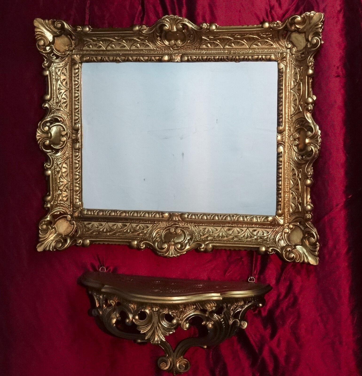 Miroir mural + DEPOSE console comme Jeu 2 2 Jeu pièces MIROIR ANTIQUE BAROQUE OR 56x46 2fead6