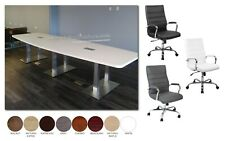 14 Ft Foot Conference Table With Metal Legs And 12 High Back Chairs In 8 Colors
